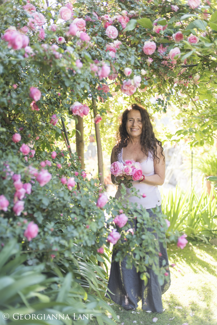 María Cecilia photographed in her rose garden in El Arrayan, Chile, by Georgianna Lane