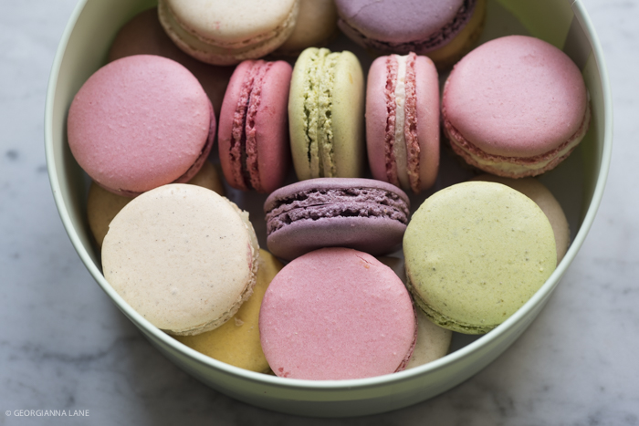 Laduree macarons, specially chosen for color, not necessarily flavor!