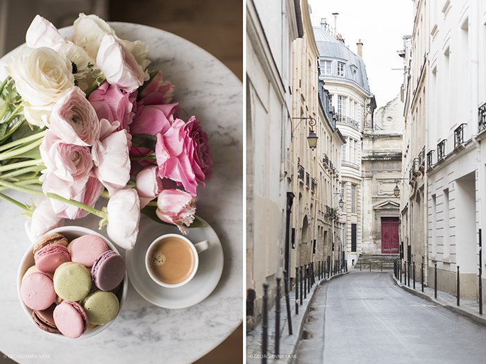 Fresh flowers and Laduree macarons; Rue Aubriot in Le Marais
