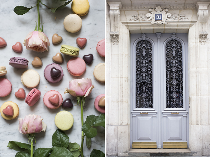 Laduree macarons, Pierre Marcolini chocolates and market roses.