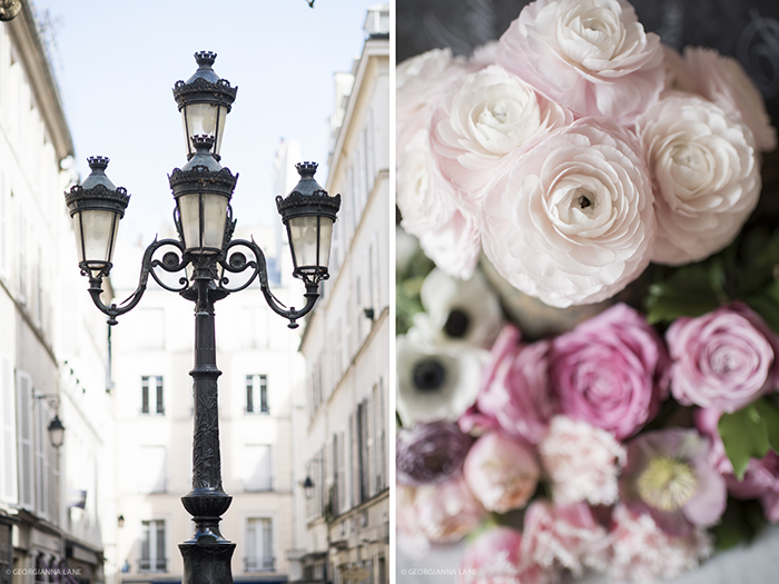 Lamp post, Place Furstenberg; roses, ranunculus, tulips and anemones