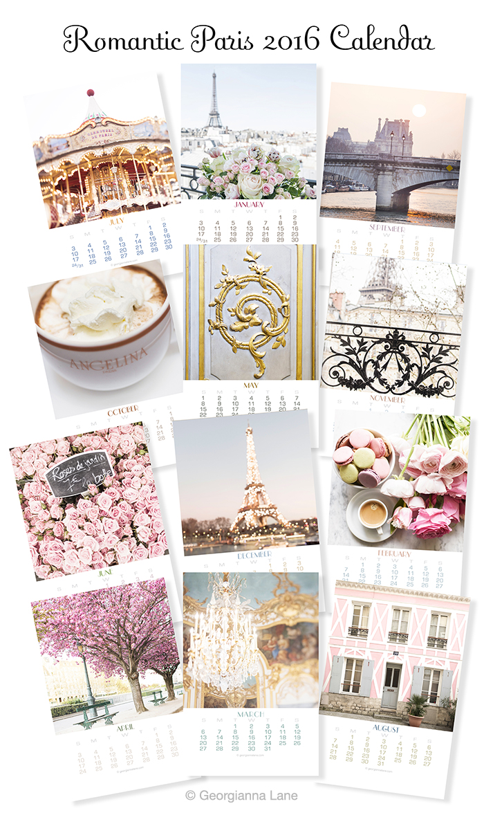 Romantic Paris 2016 Calendar by Georgianna Lane