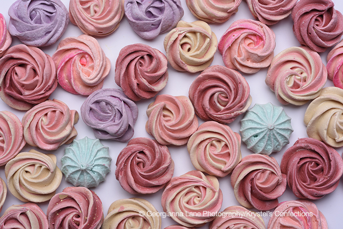 Krystel's Confections meringues photographed by Georgianna Lane