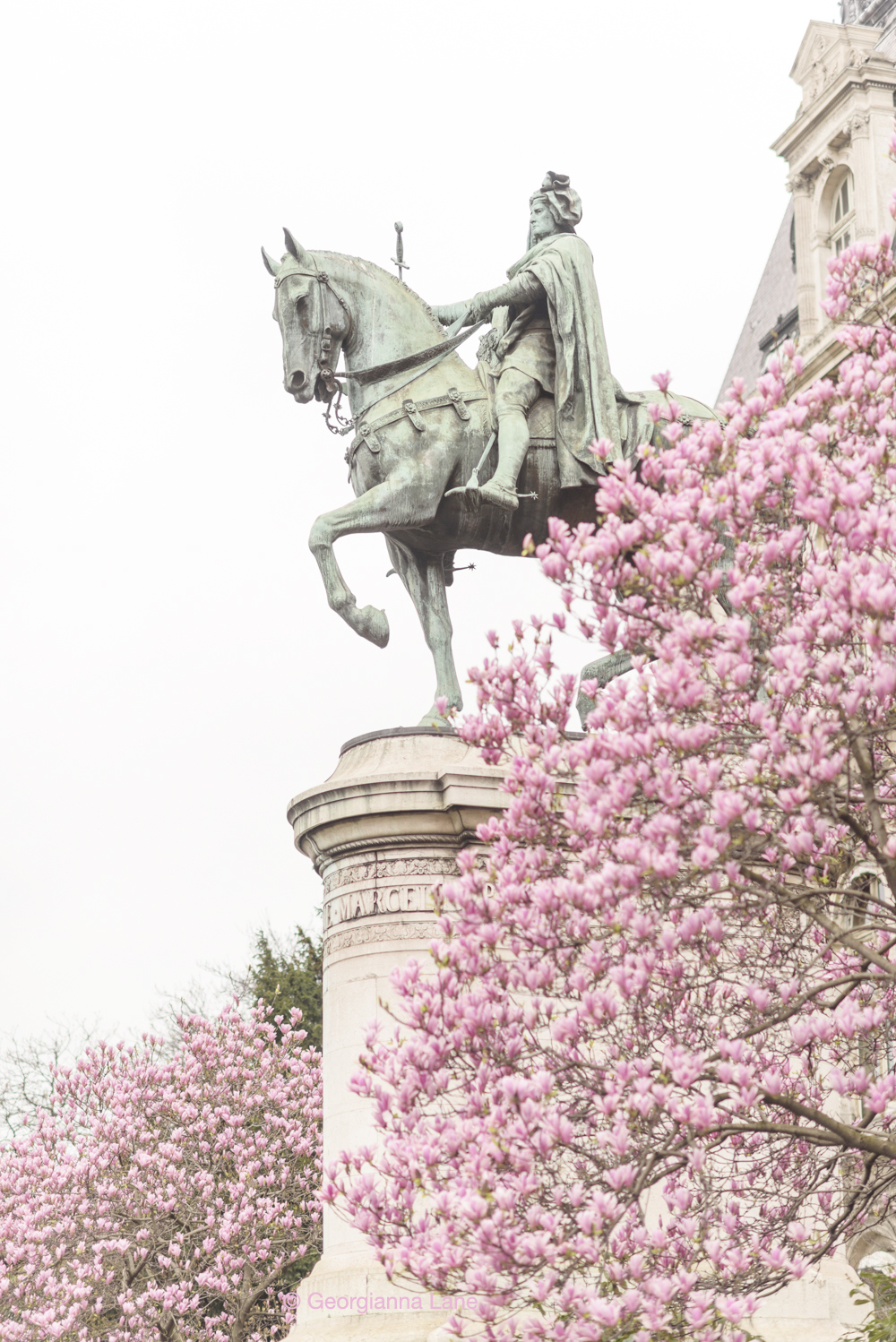 Statue of Étienne Marcel in spring, Paris, by Georgianna Lane