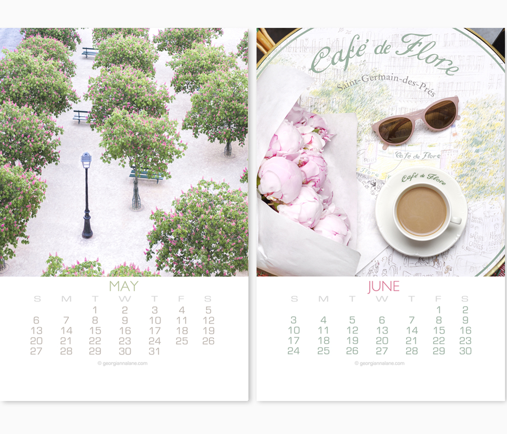 2018 Paris Calendar by Georgianna Lane